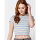 SKY AND SPARROW Stripe Womens Light Blue Baby Tee