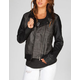 SEBBY Mixed Media Womens Faux Leather Jacket