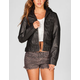 SEBBY Distressed Faux Leather Womens Hooded Jacket