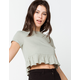 SKY AND SPARROW Crop Womens Sage Babydoll Top