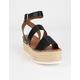 SODA Banded Womens Black Flatform Sandals