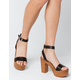 BAMBOO Ankle Strap Womens Black Heels