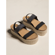 STEVE MADDEN Circa Raffia Elastic Womens Black Flatform Sandals