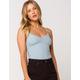 FULL TILT Essential Lace Trim Womens Blue Cami