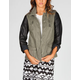 FULL TILT Faux Leather Sleeve Womens Twill Anorak Jacket
