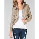 THERAPY Womens Hooded Faux Leather Jacket