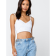 IVY & MAIN Solid Surplice Womens White Crop Cami