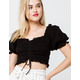 COTTON CANDY LA Cinched Woven Womens Crop Top