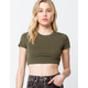 HEART & HIPS Cropped Crew Womens Olive Baby Tee