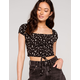 IJOAH Cinch Daisy Womens Black Crop Top