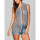 6 DEGREES Striped Womens Chiffon Shirt