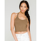 BOZZOLO Cropped Womens Olive Halter Top