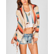 FULL TILT Stripe Womens Fringe Cardigan