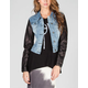 YMI Faux Leather Sleeve Womens Denim Jacket