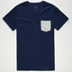 BLUE CROWN Mens Contrast Pocket Tee