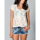 EYESHADOW Lace Button Front Womens Top