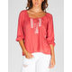 FULL TILT Embroidered Womens Hi Low Peasant Top