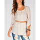 FULL TILT Womens Belted Peasant Top