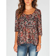 FULL TILT Floral Womens Babydoll Top