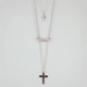 FULL TILT Cross/Love 3 Row Necklace