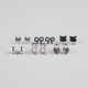 6 Pair Bow/Kitty Stud Earrings
