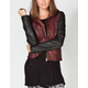 SEBBY Color Block Womens Faux Leather Jacket