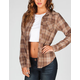 FULL TILT Peach Skin Yoke Womens Flannel Shirt