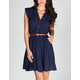 ANGIE Mineral Wash Belted Shirt Dress