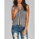 DIVA LOUNGE Open Pocket Striped Womens Top