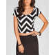 FULL TILT Chevron Stripes Womens Scoop Back Top