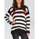RAZZLE DAZZLE Accent Stripe Womens Hi Low Sweater
