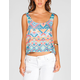 FULL TILT Ethnic Print Womens Button Back Tank