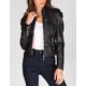 JOU JOU Womens Pleated Sleeve Faux Leather Jacket