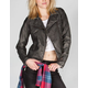 JOU JOU Womens Quilted Faux Leather Moto Jacket