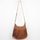 Large Fringe Faux Leather Hobo Bag
