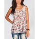 FULL TILT Floral Womens Lace Inset Bar Back Tank