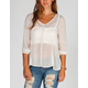 FIRE Chiffon Lace Womens Peasant Top