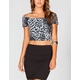 FULL TILT Leopard Print Womens Off Shoulder Crop Top