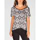 FULL TILT Ethnic Print Womens Cross Back Tee