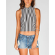 FULL TILT Striped Womens Mock Neck Top
