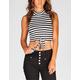 FULL TILT Striped Womens Tie Front Top