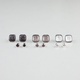 6 Pairs Rhinestone Stud/Caviar Square Earrings