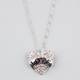 Rhinestone Heart Banner Necklace