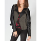 OTHERS FOLLOW Womens Faux Leather Sleeve Moto Jacket