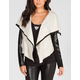 ANAMA French Terry Womens Faux Leather Sleeve Jacket