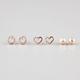 FULL TILT 3 Pairs Stud/Heart/Round Earrings