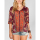 FULL TILT Lace Yoke Womens Peasant Top