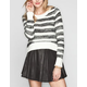 FULL TILT Stripe Womens Hi Low Crop Sweater