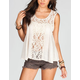 LIVING DOLL Crochet Lace Womens Top