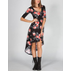 FULL TILT Floral Elbow Sleeve Hi Low Dress